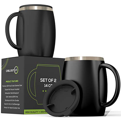 Stainless Steel Insulated Coffee Mugs Set of 2 (14oz) – Double Wall Coffee Cups With Spill Resistant Lid & Strong Handle – Shatterproof Cups for Cold Drinks & Hot Beverages - for Indoor & Outdoor Use
