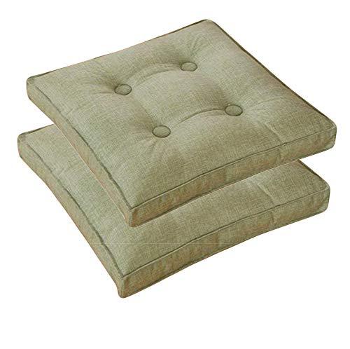 Sitzkissen Set mit 2 bunten Sitzkissen für Garten- und Esszimmerstühle, Zuhause, Küche, Stuhlkissen, gepolstert, waschbar, Grün, 40 x 40 cm