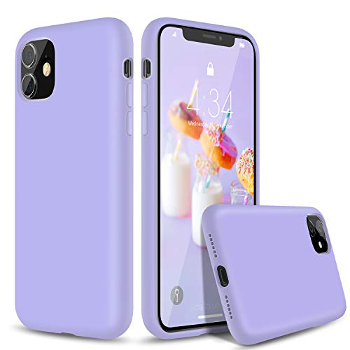 "abitku Silicone Case for iPhone 11, Slim Liquid Silicone Soft Gel Rubber Shockproof Protective Case Cover (Full Body Case with Microfiber Lining) Compatible with iPhone 11 6.1"" 2019 (Clove Purple)"