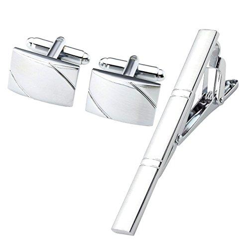 Zysta Klassisch Herren Krawattennadel Manschettenknöpfe Set Hochzeit Business Krawattenklammer Manschettenknopf Silber (#31)