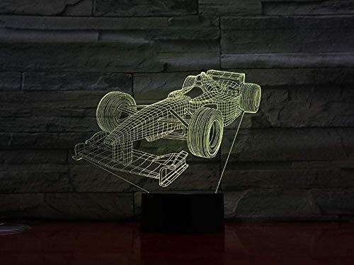 Fórmula 1 Racing 3D Lights Multicolor Regalo de cumpleaños 3D Óptico Led Night Light Holograma