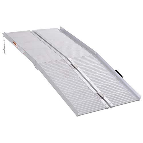 HOMCOM Portable Textured Aluminum Folding Wheelchair Threshold Ramp, 5'