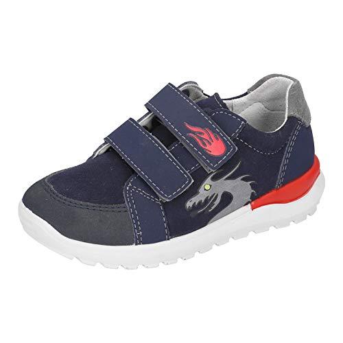 RICOSTA Kinder Low-Top Sneaker Bobbi, Weite: Weit (WMS), Klettschuh Klett-Verschluss Kinder Kids Jungen Kinderschuhe toben,Nautic,33 EU / 1 UK