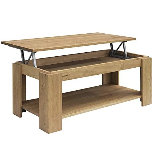 COMIFORT Table Basse relevable - Style Moderne et Porte-revues très Robuste, Bois Massif, fabriqué en Europe, Couleur fumée