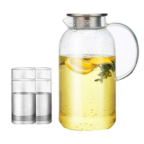 Home Fashion Glas Pitcher Deksel, Grote Capaciteit van Home Mode Glas Water Fles Duurzaam is Zeer Suible voor Ice Tea Wijn Koffie Melk en Juice Drink Flessen, HC 11×20.2cm