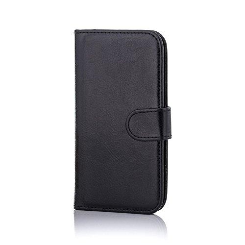 32nd Funda Flip Carcasa de Piel Tipo Billetera para Samsung Galaxy J5 (2016) SM-J510 con Tapa y Cierre Magnético y Tarjetero - Negro