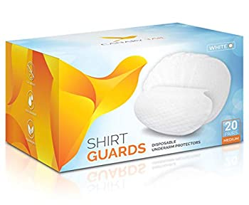 Underarm Shirt Guards  Sweat Pads  by Canary Tail – Extra Tear-Resistant – 40 Pieces  20 Pairs  Size M White