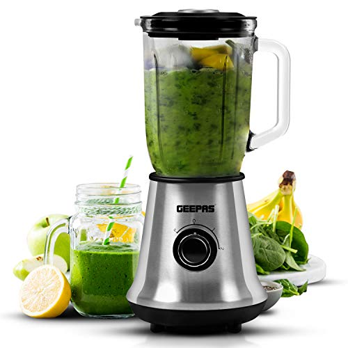 Geepas 700W Glass Jug Food Blender Smoothie Maker | Stainless Steel Cutting...