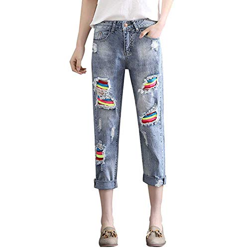 nobrand Rainbow Stripe High Waist Boyfriend Jeans Zerrissene Distressed Boyfriend Jeans für Damen Baggy Destroyed Jeans Hole Denim Pants