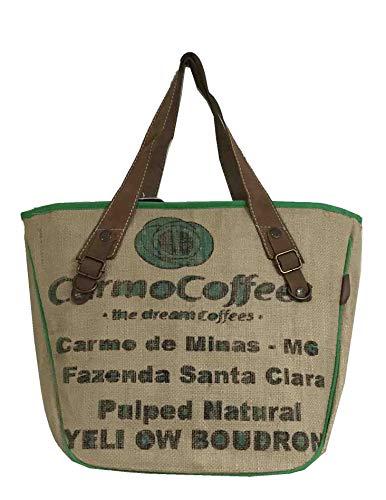 HOGACA Damenhandtasche Mod.2.4 Coffee Natur aus Kaffeesack Jutesack Sommer-Strand-Hippie-Ibiza-Tasche