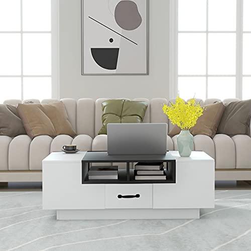 Moiitee Mesa de centro para sala de estar, moderna mesa auxiliar de madera con 2 cajones y 2 estantes abiertos para muebles de oficina en casa