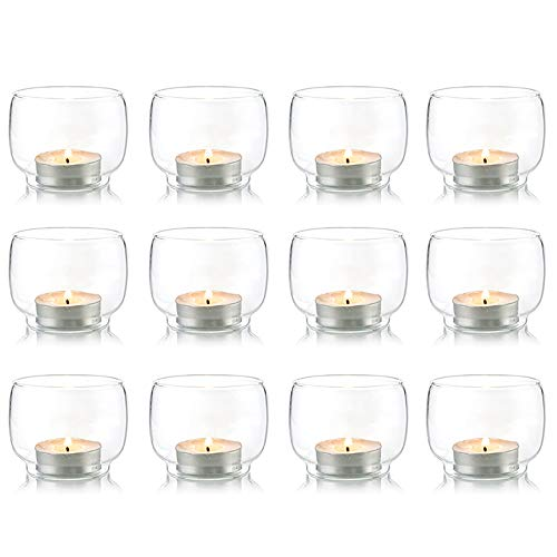 Nuptio Candelabros votivos para Huracanes de Vidrio Transparente, Juego de 12 candelabros para Velas de LED/sin Perfume
