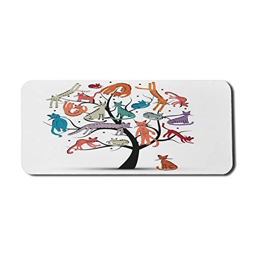 Cartoon Computer Mauspad, Kratzbaum Verschiedene Kätzchen auf den Zweigen Kleine Pfoten Kindlich fröhlich Kunstwerk, Rechteck rutschfeste Gummi Mousepad X-Large Spielgröße, Braun Weiß