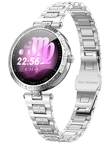 Damen Smartwatch Armkette Schmuck Elegant Pulsmesser Fitness Armband Uhr mit Blutdruckmessung Schrittzähler aus Edelstahl Schlaf Tracker für Frauen Mode Rosegold Silber