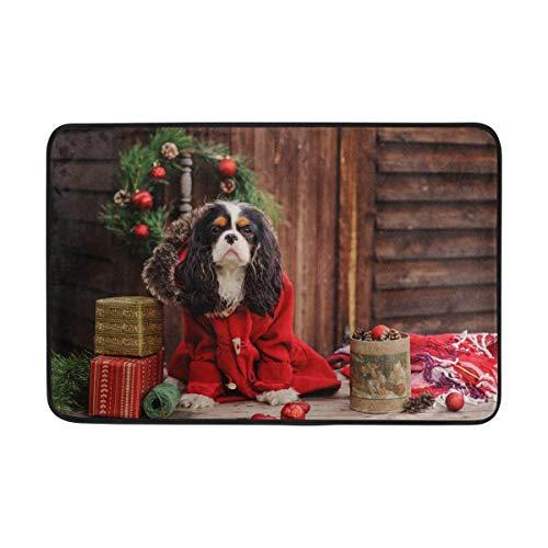 MyDaily - Zerbino natalizio con cane Cavalier King Charles Spaniel, 40 x 60 cm, per soggiorno, camera da letto, cucina, bagno, decorativo, in schiuma leggera
