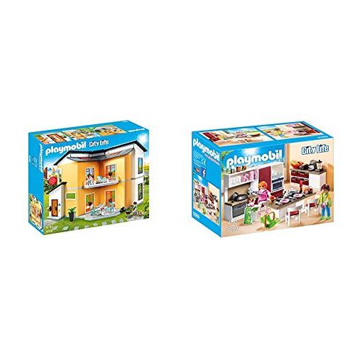 PLAYMOBIL City Life Casa Moderna, con Efectos de Luces y Sonido, a Partir de 4 Años (9266) + City Life Cocina, a Partir de 4 Años (9269)