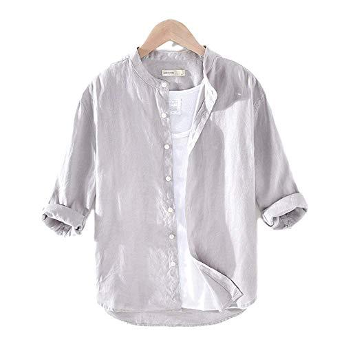 Camisa de Hombre de Gran tamaño a la Moda con Cuello levantado de Lino Delgado Color sólido Informal Camisa de Manga Tres Cuartos Simple Medium