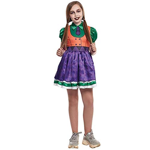H HANSEL HOME Disfraz Bufona Joker Infantil - Niña Vestido para Cosplay/Carnaval/Halloween Size 7-9 años