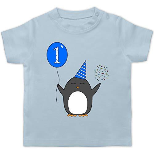 Geburtstag Geschenk für Babys - 1.Geburtstag - Baby - Blau - Pinguin - Ballon - Konfetti - 12/18 Monate - Babyblau - Geburtstags Shirt 1 Jahr - BZ02 - - Baby Jungen Mädchen T-Shirt Babies