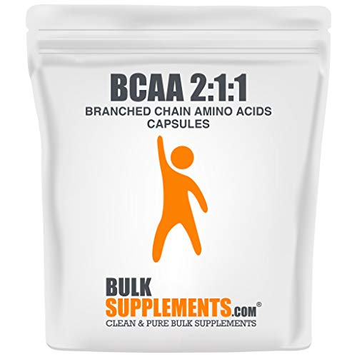 BulkSupplements.com BCAA 2:1:1 (Branched Chain Amino Acids) - Workout Recovery - BCAA Pills - BCAA Capsules (100 Gelatin Capsules - 33 Servings)