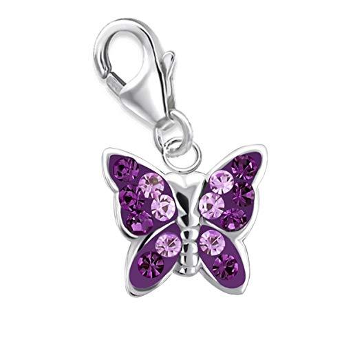 Colgante de mariposa GH* Kids, de cristal de amatista de color lila, de plata de ley 925, para...
