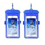 CRH Caisson étanche Universel, Sac étanche pour téléphone Portable Galaxy Transparent jusqu'à 5. 2-6. 44 Pouces Convient pour la Plage, Voyage et Cadeaux 2 pièces,Bleu