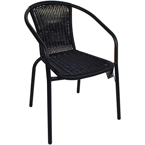 Marko Outdoor Black Outdoor Wicker Rattan Bistro Chair Metal Frame Woven Seat Indoor Outdoor