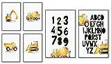 ELAFI Kinderzimmer Poster Set ABC | Lernposter 6x A3 & A4 Bilder ohne Bilderrahmen | Auto Bagger Jungszimmer | Alphabet für das Babyzimmer |123 Wandbilder für Jungs