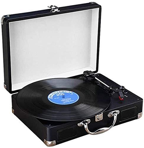 JIE KE Caja de música Reproductor de grabación Turnato Giratorio de 3 velocidades de cinturón, Reproductores de Vinilo de Vinilo. Altavoces estéreo incorporados (Color : Black)
