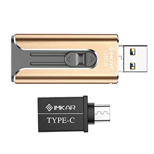 USB Flash Drive 128GB Photo Stick for iPhone, iPhone Flash Drive with 4 Ports, IMKAR iPhone Memory Srick Compatible for iPhone/Android and Computer, iPhone Photo Stick with OTG Adapter - 128GB Gold