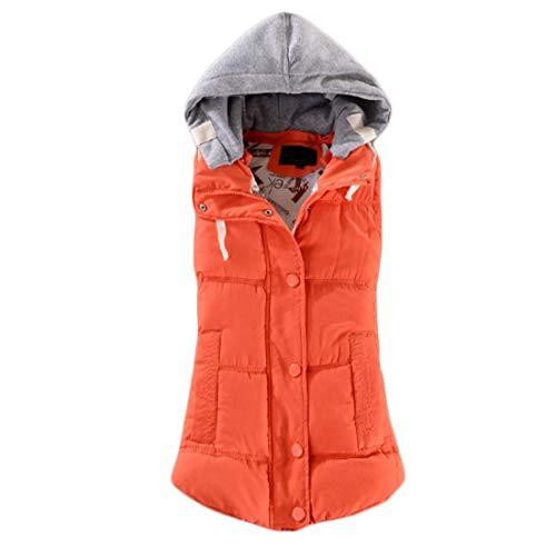 Inlefen Abnehmbare Kapuze mit gesteppten Knöpfen für Damen gepolsterte Weste wasserdichter ärmelloser Bodywarmer-Mantel mit Reißverschluss (Orange-5XL)