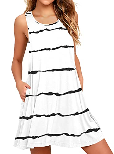 WEACZZY Women Summer Casual Swing T Shirt Dresses Beach Cover up Loose Dress with Pockets