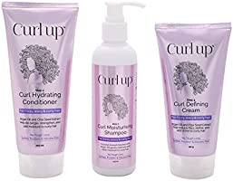 Curl Up Curl Care Bundle with Curly Hair Shampoo, Conditioner and Leave in Curl Defining Cream - For Dry Frizzy, Wavy &...