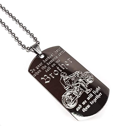 Real Bullet Design Dog-Tag In The Darkest Hour When The Demons Come, Call on me Brother and We Will Fight Them Together- Limited Biker Edition