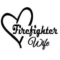 ステッカー 車 12X8.7CM消防士WIFE HEART LOVEファッションステッカー車のステッカーブラック/シルバービニール 車すてっかー (Color Name : Black)