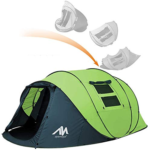 ayamaya Pop Up Tent with Vestibule for 4 to 6 Person - Double Layer Waterproof 4 Season Easy Setup Big Family Camping Tent - Ventilated Mesh Windows Quick Ez Set Up Dome Popup Pop-up Tents