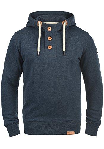 !Solid TripStrip Herren Kapuzenpullover Hoodie Pullover Mit Kapuze Knopfleiste Und Fleece-Innenseite, Größe:S, Farbe:Insignia Blue Melange (8991)