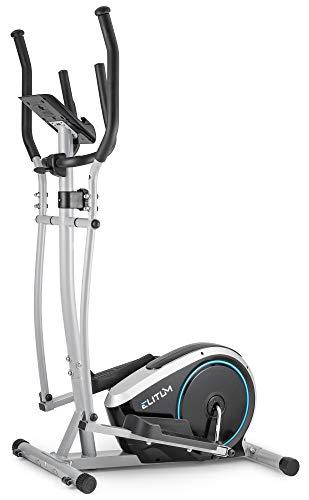 Elitum Vélo elliptique MX350 - Capteurs de la fréquence Cardiaque - Poids d'inertie 10kg - Max.125kg - Système de freinage magnétique (ARGENTÉ)