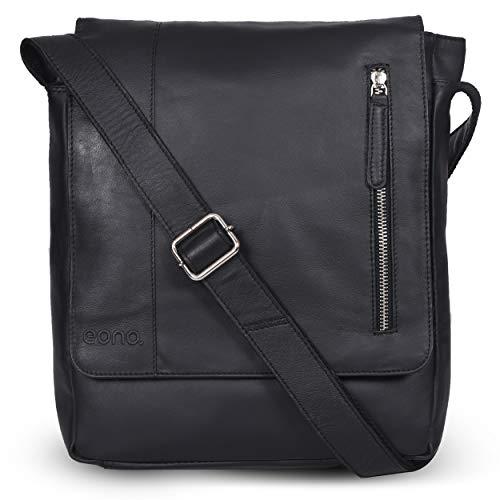 Eono by amazon Schultertasche für Männer und Frauen - Umhängetasche aus braunem Leder für Tablets (Black Nappa)