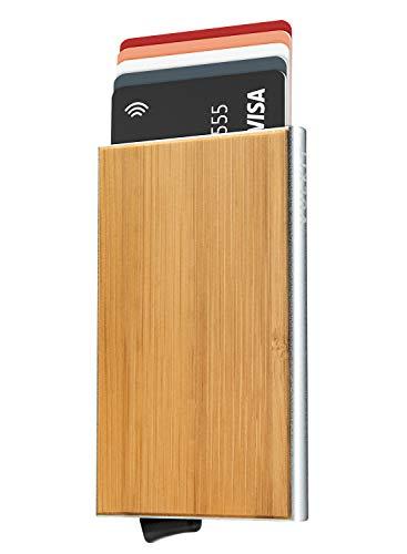 VULKIT VULKIT Tarjeteros para Tarjetas de Credito de Grano de Madera de Bambú Tarjetero Automatico RFID Bloqueo Hombre o Mujer Minimalista - Estuche Plateado