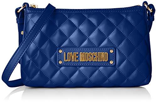 Love Moschino Damen Quilted Nappa Pu Kuriertasche, Blau (Blu), 15x10x15 centimeters
