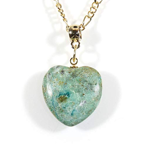 'Chrysocolla Heart', Natural Stone Heart Necklace on Goldtone Chain, 18 Inches