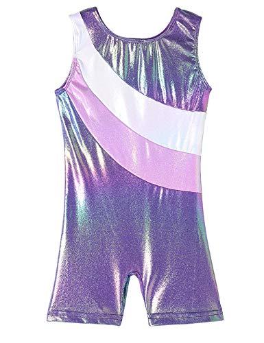 QoozZ Gymnastik-Biketard für Mädchen Gymnastik Galaxy Printed Turnanzug Einteiler - Violett - 5-6 Jahre