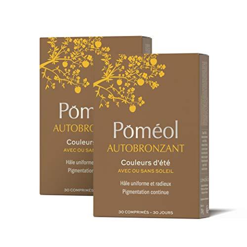 POMÉOL ǀ Complément alimentaire - Autobronzant ǀ Format éco, 2 x 30 jours ǀ 4 pigments, Vit C & A, Cuivre