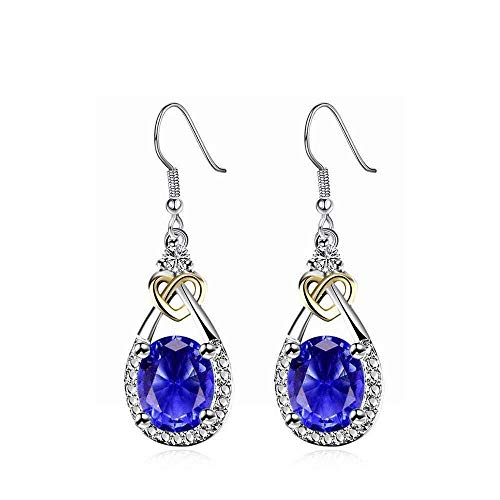 EH Mode Créatif Bi-Couleur Plaqué Boucles d'oreilles Zircon Bijoux Femme, Bleu de Prusse, Bleu de Prusse