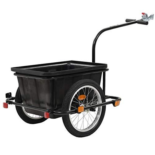vidaXL Remolque de Carga para Bicicletas Tráiler Caravana Carreta Carretilla Carrito Remolcar para Bici Acero y PlásticoNegro 50 L
