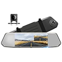 "TOGUARD Backup Camera for Cars 7"" Mirror Dash Cam Touch Screen 1080P Rear View Mirror Camera Front and Rear Dual Lens with Waterproof Reversing Camera Parking Assistance"