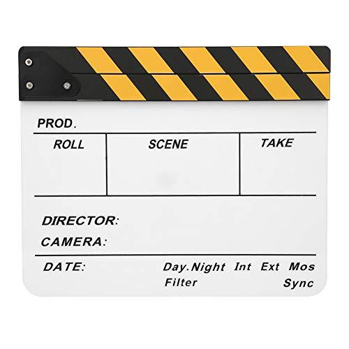 Claqueta de película 30x25 CM Claqueta de película acrílica Director profesional Acción Clap Herramienta de fotografía de película Adecuado para juegos de roles Edición Producción de video(#1)