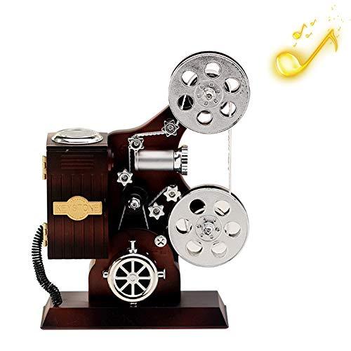 Peahop - Reloj de música Retro Vintage para el hogar, la Oficina, decoración mecánica, artesanía, Retro, Retro, Cine, proyector, Reloj de música, Juguete, Regalo, decoración