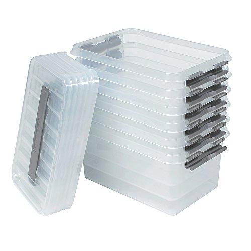 6X Aufbewahrungsbox mit Deckel, transparent, LxBxH 300 x 200 x 140 mm, 6 Liter Box